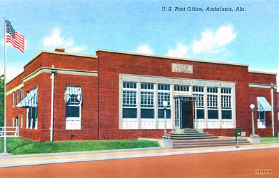 Photograph - Vintage Andalusia Alabama - Post Office by Mark Tisdale