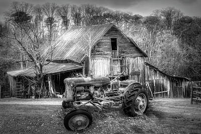 Photograph - Vintage At The Farm Black And White by Debra and Dave Vanderlaan