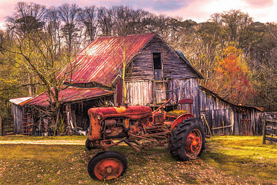 Photograph - Vintage At The Farm Fall Painting by Debra and Dave Vanderlaan