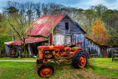 Photograph - Vintage At The Farm Painting by Debra and Dave Vanderlaan