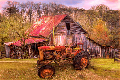 Photograph - Vintage At The Farm Watercolors Painting by Debra and Dave Vanderlaan