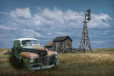 Photograph - Vintage Automobile And Wooden Barn With Windmill by Randall Nyhof