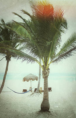 Palapas Wall Art - Photograph - Vintage Beach Scene by Nathan  Blaney