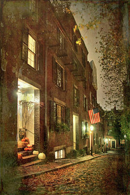 Photograph - Vintage Boston - Acorn Street by Joann Vitali