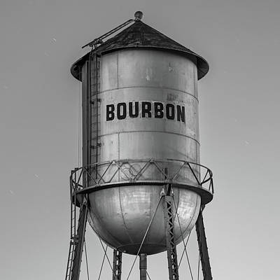Photograph - Vintage Bourbon Monochrome Water Tower At Dusk by Gregory Ballos