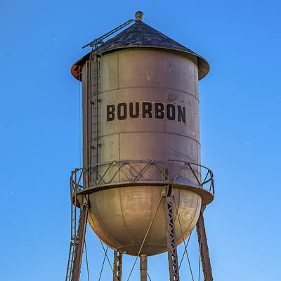 Photograph - Vintage Bourbon Water Tower At Blue Dusk by Gregory Ballos