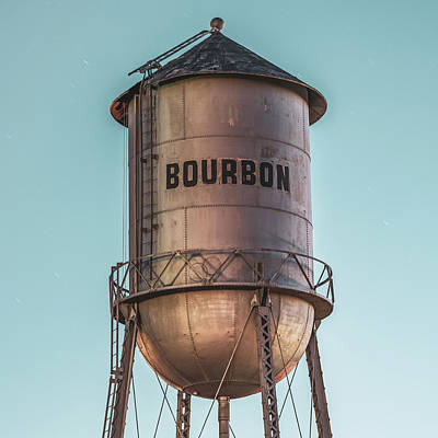 Photograph - Vintage Bourbon Water Tower At Cool Light by Gregory Ballos