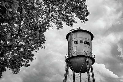 Photograph - Vintage Bourbon Whiskey Water Tower And Tree - Black And White by Gregory Ballos