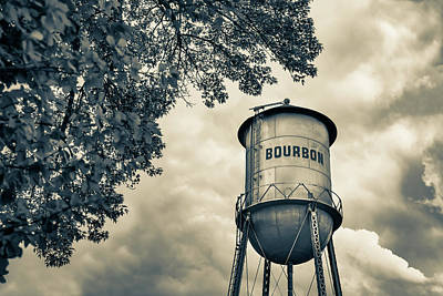 Photograph - Vintage Bourbon Whiskey Water Tower And Tree - Sepia by Gregory Ballos