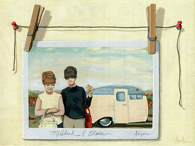 Painting - Vintage Campers - Still Life Painting by Linda Apple