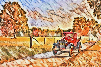Painting - Vintage Car A1917 by Ray Shrewsberry