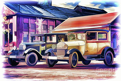 Painting - Vintage Cars A18-118 by Ray Shrewsberry