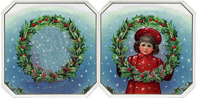 Photograph - Vintage Christmas Girl Wishes by Doc Braham