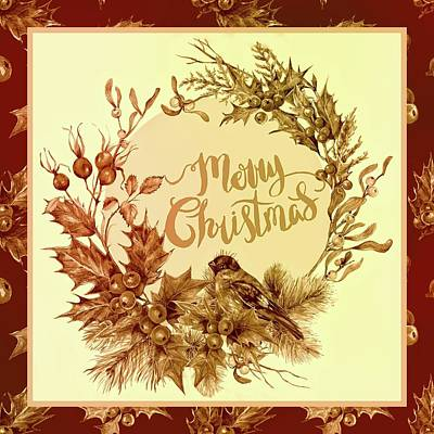 Digital Art - Vintage Christmas Wreath by HH Photography of Florida