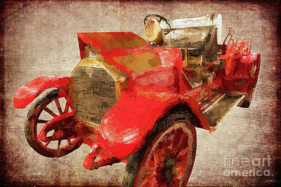 Painting - Vintage Fire Truck Mt. Airy North Carolina Ap by Dan Carmichael
