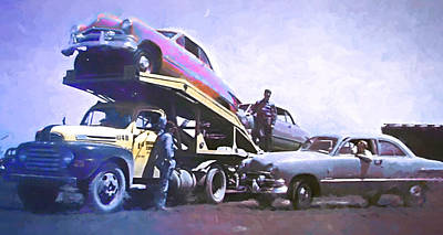 Digital Art - Vintage Ford Car Carrier by David King