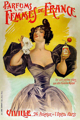 Painting - Vintage French Advertising Parfums Des Femmes De France by Vintage French Advertising