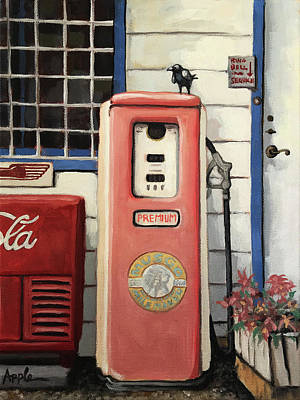 Painting - Ring Bell For Service /vintage Gas Pump by Linda Apple