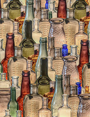 Digital Art - Vintage Glass Bottles Collage by Phil Perkins