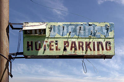 Vintage Hotel Parking Sign Original