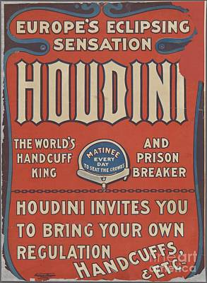 Royalty-Free and Rights-Managed Images - Vintage Houdini Poster by Esoterica Art Agency