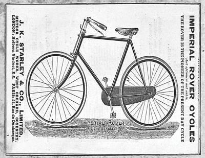 Nikki Vig Digital Art - Vintage Imperial Bicycle Black and White Rover Bicycle by Nikki Vig