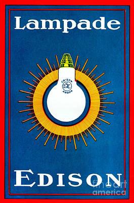 Drawing - Vintage Italian Advertisement For Light Bulbs by European School