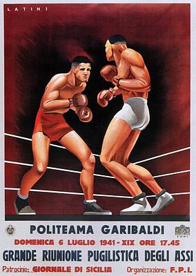 Painting - Vintage Italian Boxing Poster by Unknown