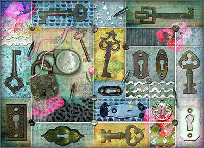 Digital Art - Vintage Key Collage by Linda Carruth