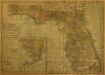 Florida State Wall Art - Mixed Media - Vintage Map Of Florida 1921 by Design Turnpike