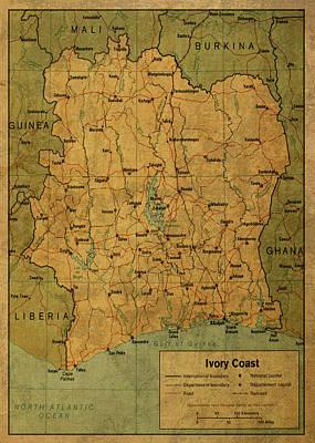 Coast Mixed Media - Vintage Map Of Ivory Coast by Design Turnpike