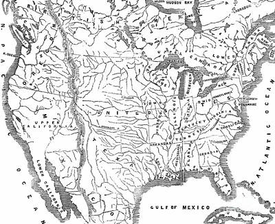 Drawing - Vintage Map Of North America From 1845, Showing The Relative Positions Of Texas And Oregon  by English School
