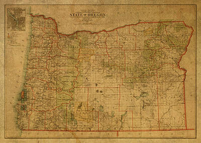 Oregon State Wall Art - Mixed Media - Vintage Map Of Oregon by Design Turnpike