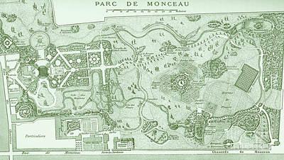 Drawing - Vintage Map Of The Parc De Monceau, Paris by French School
