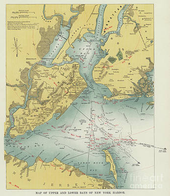 Drawing - Vintage Map Of Upper And Lower Bays Of New York Harbor by American School