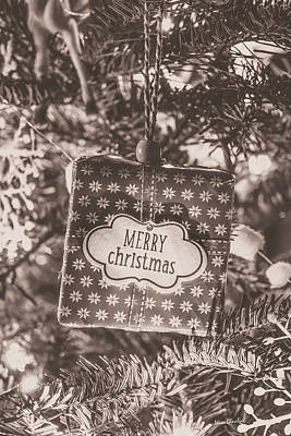 Photograph - Vintage Merry Christmas Present In Tree by Wim Lanclus