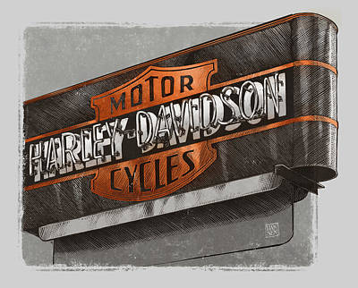 Drawing - Vintage Motorcycle Shop by Clint Hansen