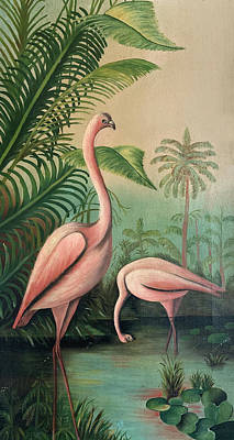 Painting - Vintage Painting Pink Flamingos by Marilyn Hunt