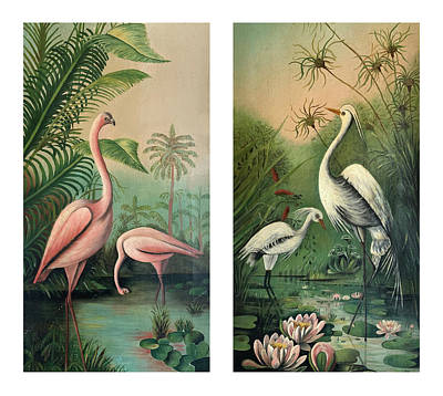 Painting - Vintage Paintings Egrets And Flamingos by Marilyn Hunt