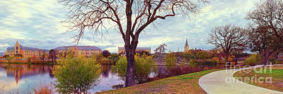 Photograph - Vintage Panorama Of Elmenderf Lake And Our Lady Of The Lake University - San Antonio Texas by Silvio Ligutti