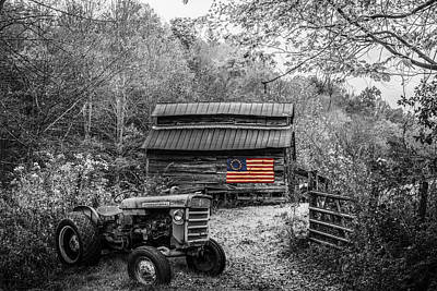 Photograph - Vintage Patriotism Black And White With Color Selected Americana by Debra and Dave Vanderlaan