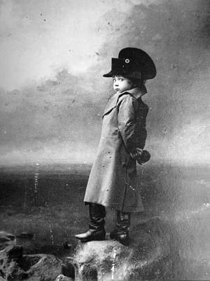 Painting - Vintage Photo Print Antique Photograph Black And White Photography Boy Child Children Posing As Napo by Celestial Images