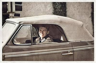 Antique Maps - Vintage Photo - Ronald Reagan - 024 colorized by Ahmet Asar by Ahmet Asar