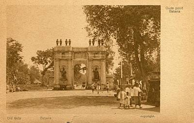 Painting - Vintage Photos 1850s - 1920s - Postcard Of Old Gate  Rhodesia  Indonesia 640 by Celestial Images