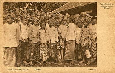 Painting - Vintage Photos 1850s - 1920s - Postcard Of Sundanese Boy School  Rhodesia Indonesia 631 by Celestial Images
