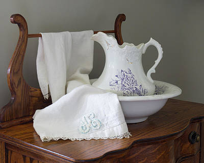 Photograph - Vintage Pitcher With Basin With Monogrammed Towel by MM Anderson