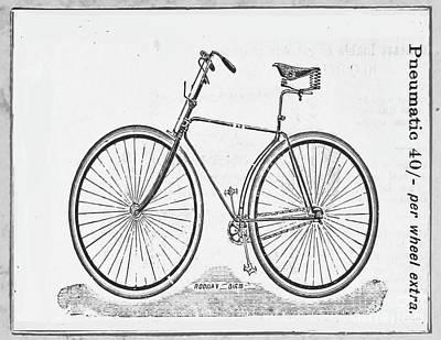 Nikki Vig Digital Art - Vintage Pneumatic Bicycle Black and White Rover by Nikki Vig