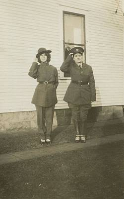 Painting - Vintage Portrait Photos 1890 - 1945 - Saluting Soldiers 305 by Celestial Images
