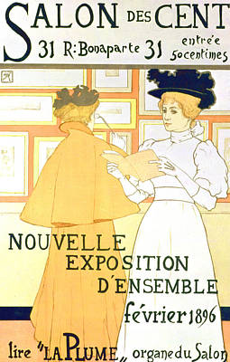 Drawing - Vintage Poster Advertising A Exhibition At The Salon Des Cent, 1896  by Armand Rassenfosse