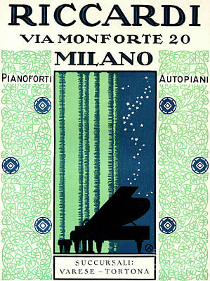 Painting - Vintage Poster Advertising Riccardi Pianos, 1928 by Italian School
